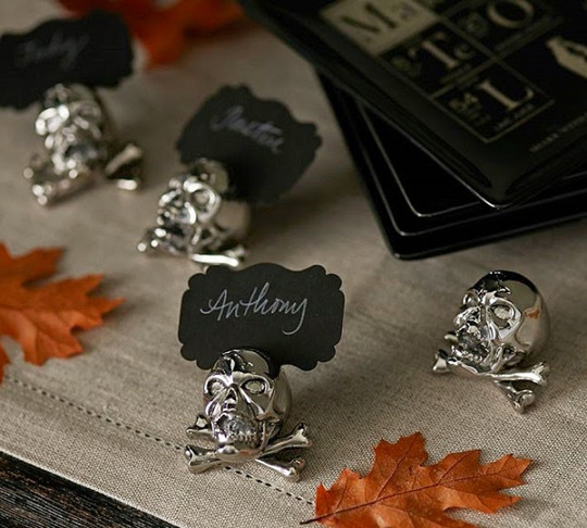 Crossbones Place Card Holder skull halloween wedding idea
