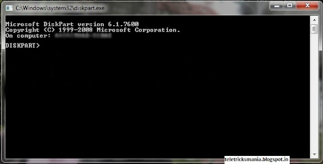 Diskpart Utility: create and format drive.