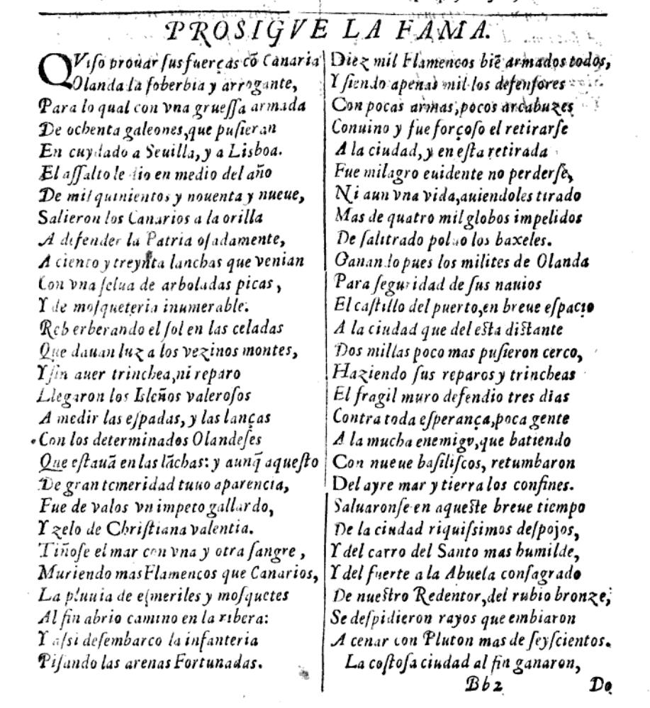 Gran Canaria 1599 Poema De Cairasco Sobre El Ataque
