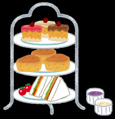 3段のケーキスタンドのイラスト