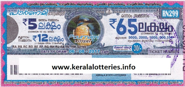 Pournami (RN-299) on August 06, 2017_Kerala Lottery