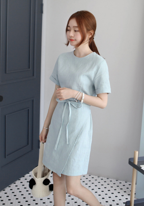 Self-Tie Waist Ribbon Dress