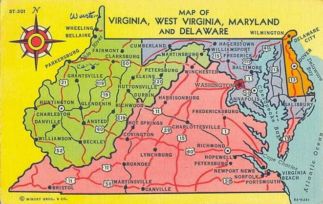 POSTCARDY: the postcard explorer: Map: Virginia, West Virginia