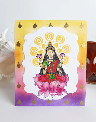 Craftangles, Zig clean colour brush pens, Tombow dual brush pens, stenciling, masking, Quillish, Lakshmi card, Laxmi card, diwali card, new home card, house warming card, goddess lakshmi card, card by Ishani