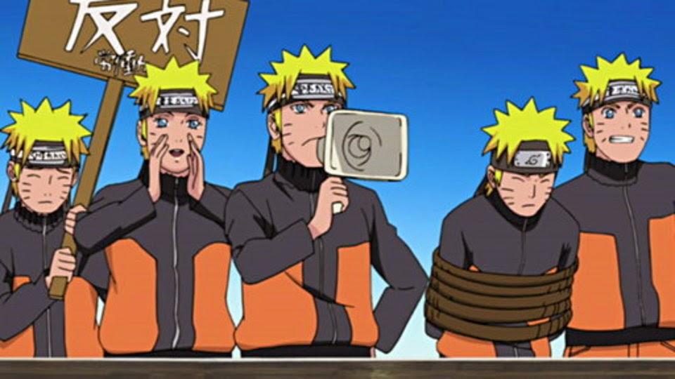 Clones de sombra se revelan contra Naruto