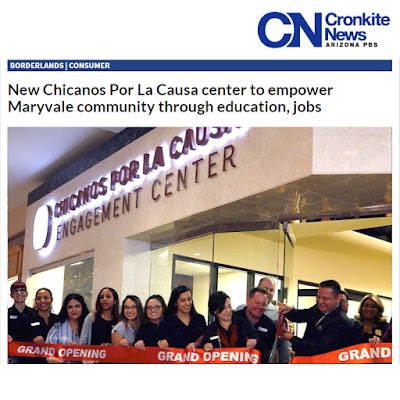 Snapshot of web news story by CronkiteNews, featuring image of CPLC grand opening ribbon cutting.  Text: New Chicanos Por La Causa fcenter to empower Maryvale through education, jobs.