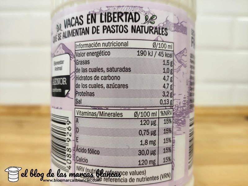 Valores nutricionales de la leche fresca de pastoreo semidesnatada sin lactosa Milbona de Lidl.