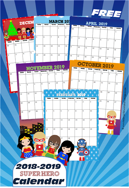 Free Girl Super Hero Printable Calendar Kindergarten Worksheets