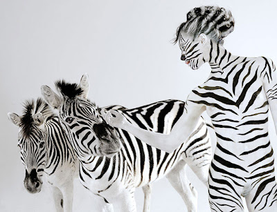 Body paint cebra zebra pintar cuerpo