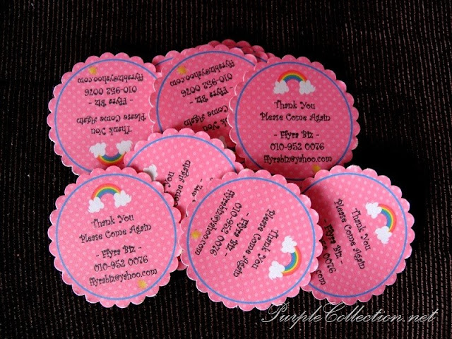 sticker, wedding favour, label, round, scallop, polka dot, pink, rainbow, cute, colourful