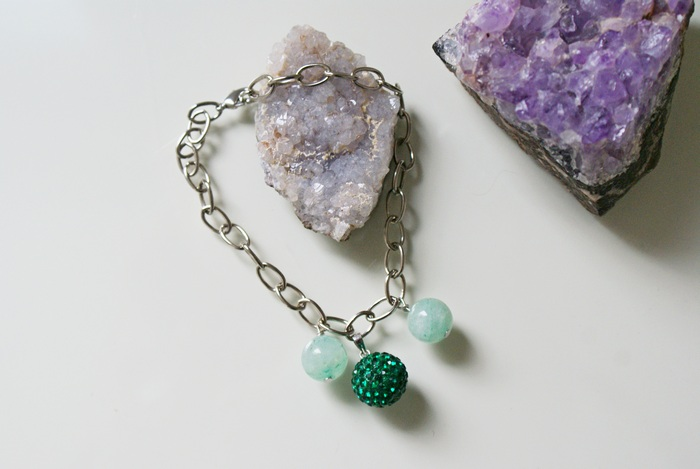 bracelet crystals aventurine charm handmade