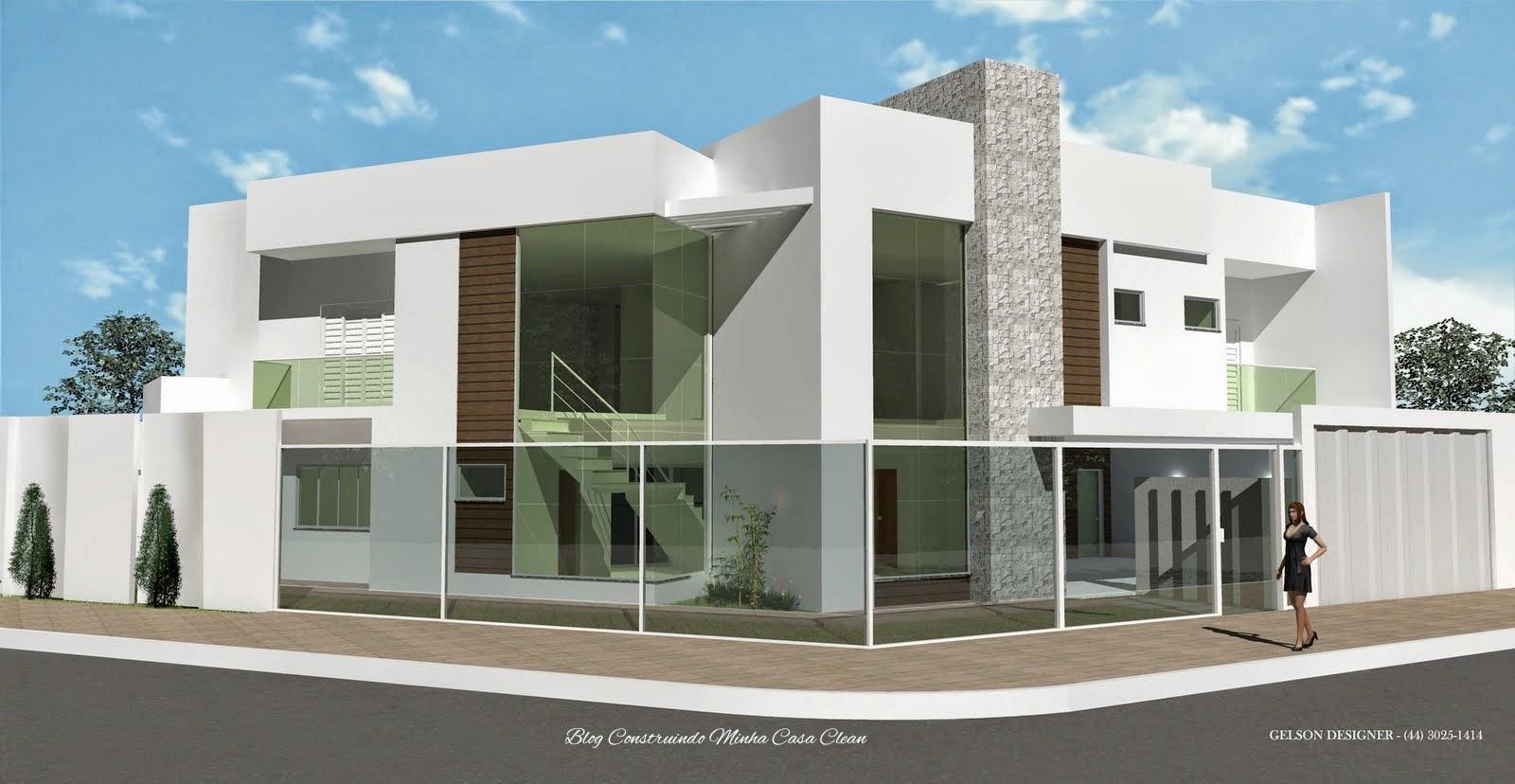 Construindo minha casa clean fachadas de casas com muros for Casa moderna de 7 por 15