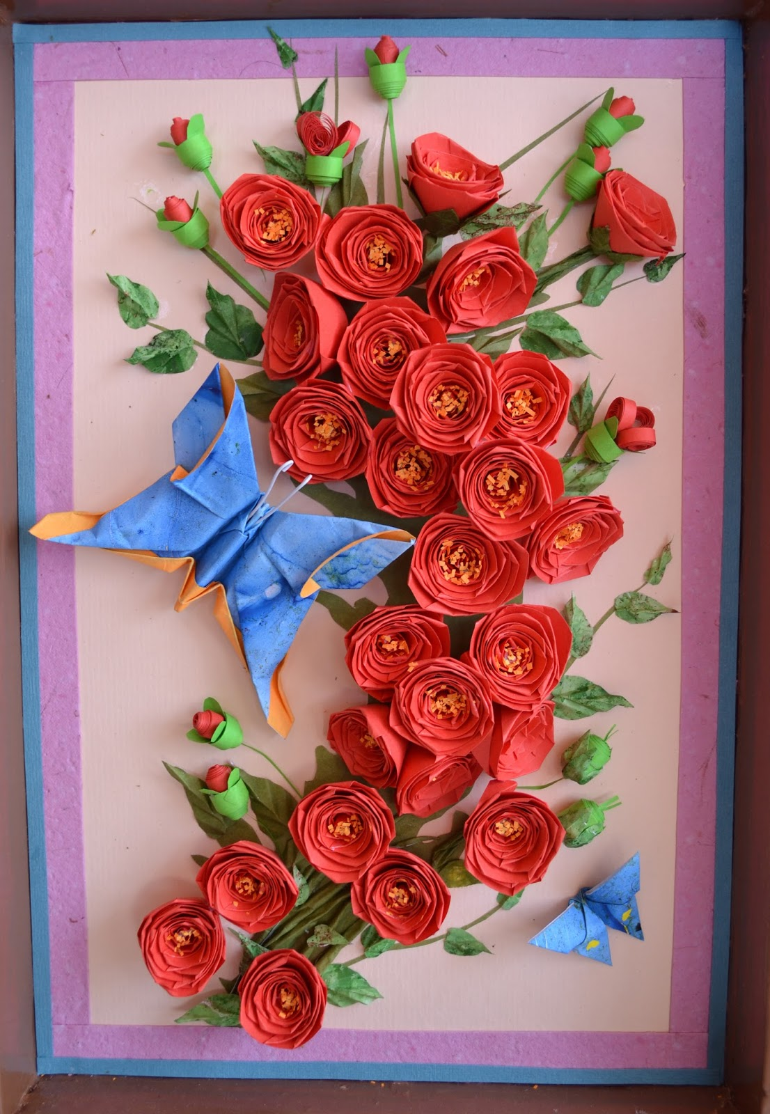 Paper quilling rose wall art craft ideas and art projects for Quilling craft ideas