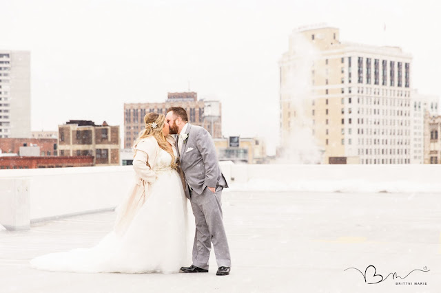 Photo of Bride and Groom on Detroit Rooftop at Z Belt Lot