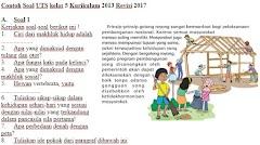 Soal UTS/PTS Kurikulum 2013 Revisi Kelas 5 SD Plus Kunci Jawaban