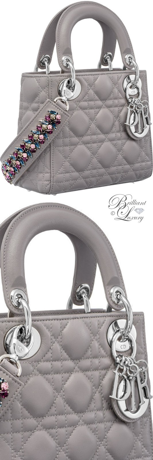 Brilliant Luxury ♦ Mini Lady Dior bag with cannage topstitching in Montaigne Grey lambskin