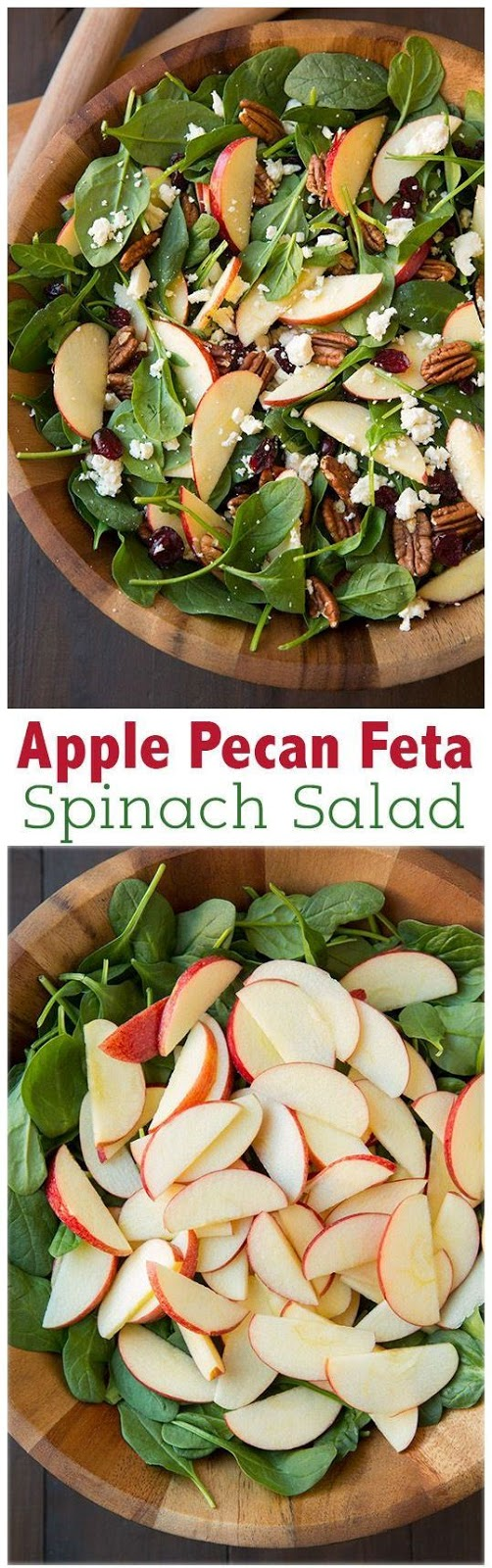 Apple Pecan Feta Spinach Salad with Maple Cider Vinaigrette