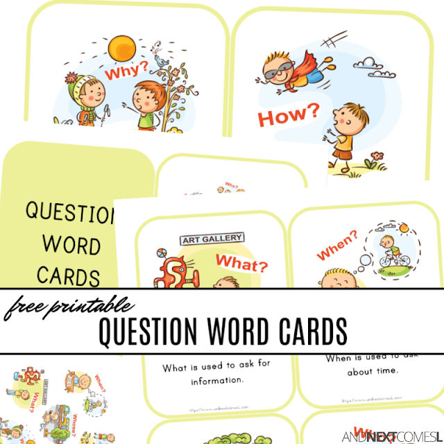 Free printable WH question word cards