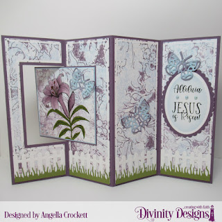 Divinity Designs Stamp Set: Miracle of Easter, Mixed Media Stencils: Flourishes, Custom Dies: Lever Card, Lever Card Layers, Bitty Butterflies, Fence, Grass Lawn, Ovals, Scalloped Ovals
