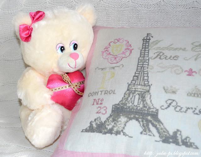 Париж, Эйфелева башня, подушка, вышивка, подушка с вышивкой Париж, Anette Eriksson, журнал CrossSticher
