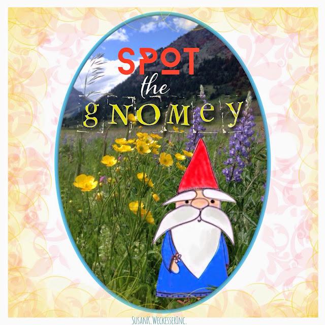Stamped Paper Gnome In a Field