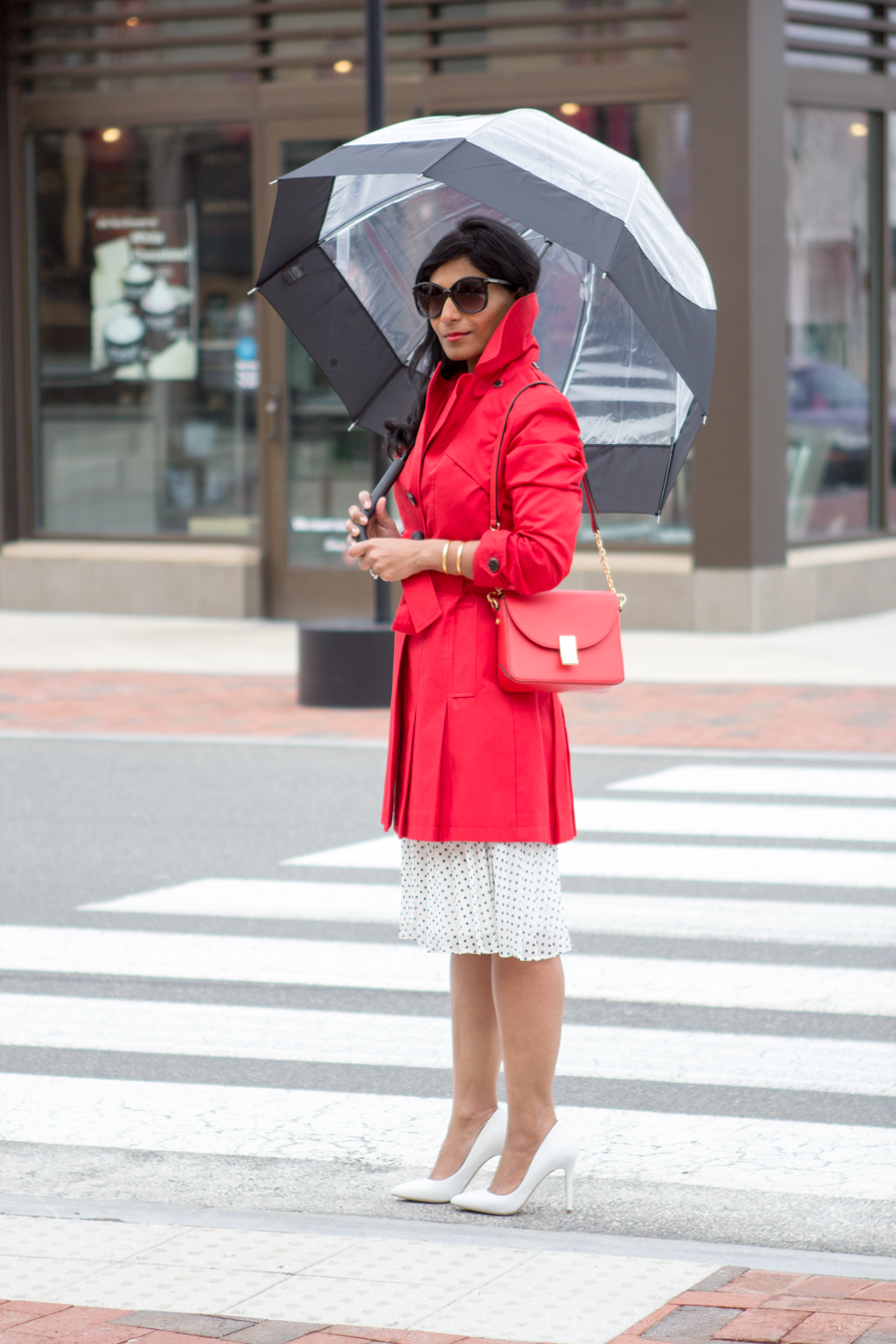 rainy day style, trench coat, red coat, raincoat, single-breasted trench, bright red coat, petite raincoat, red bag, cross-body bag, flynn, hunter, rainwear, mommy style, mom style, elegant look, chic, street style, white pumps, polka dot
