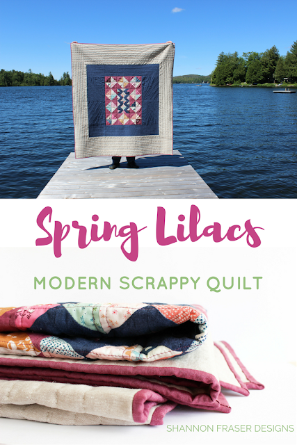 Modern Quilt made from Fabric Scraps | Spring Lilacs Quilt | Shannon Fraser Design | Art Gallery Fabrics | Playground by Amy Sinibaldi | Essex Line | Kaffe Fasset Shot Cotton | Modern Patchwork | Modern Quilting