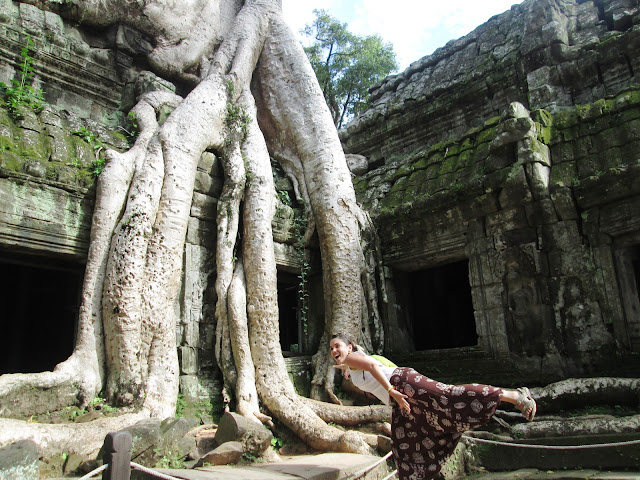 Raíces de Ta Prohm en Angkor, Camboya