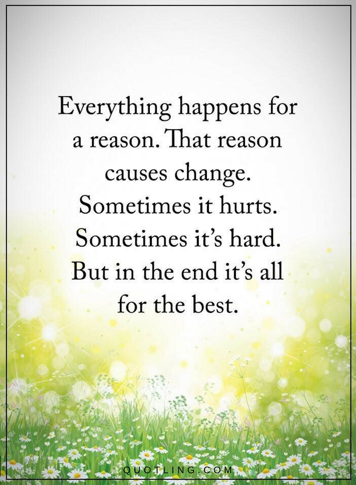 Everything Happens For A Reason That Reason Causes Change Quotes
