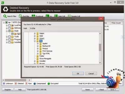 Pilih File Akan Ditempatkan - cara mengembalikan file yang terhapus