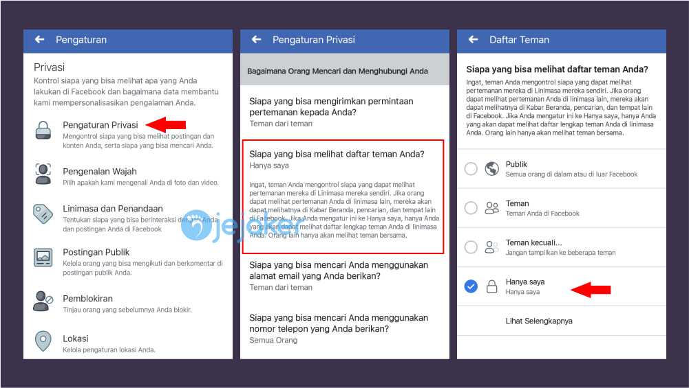Cara Menyembunyikan Friend list fb lewat aplikasi Facebook