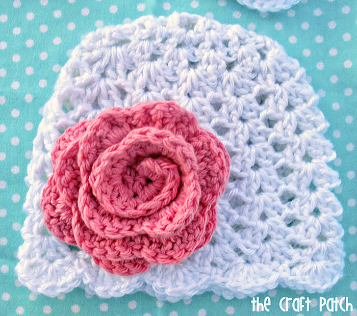 The Craft Patch: Lacy Crochet Baby Beanie