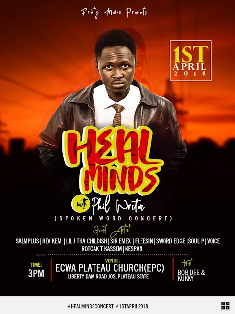 UPCOMING EVENTS: FRUITY MUSIQ PRESENTS HEAL MINDS WITH PHIL WRITER A SPOKEN WORD CONCERT AT JOS !!