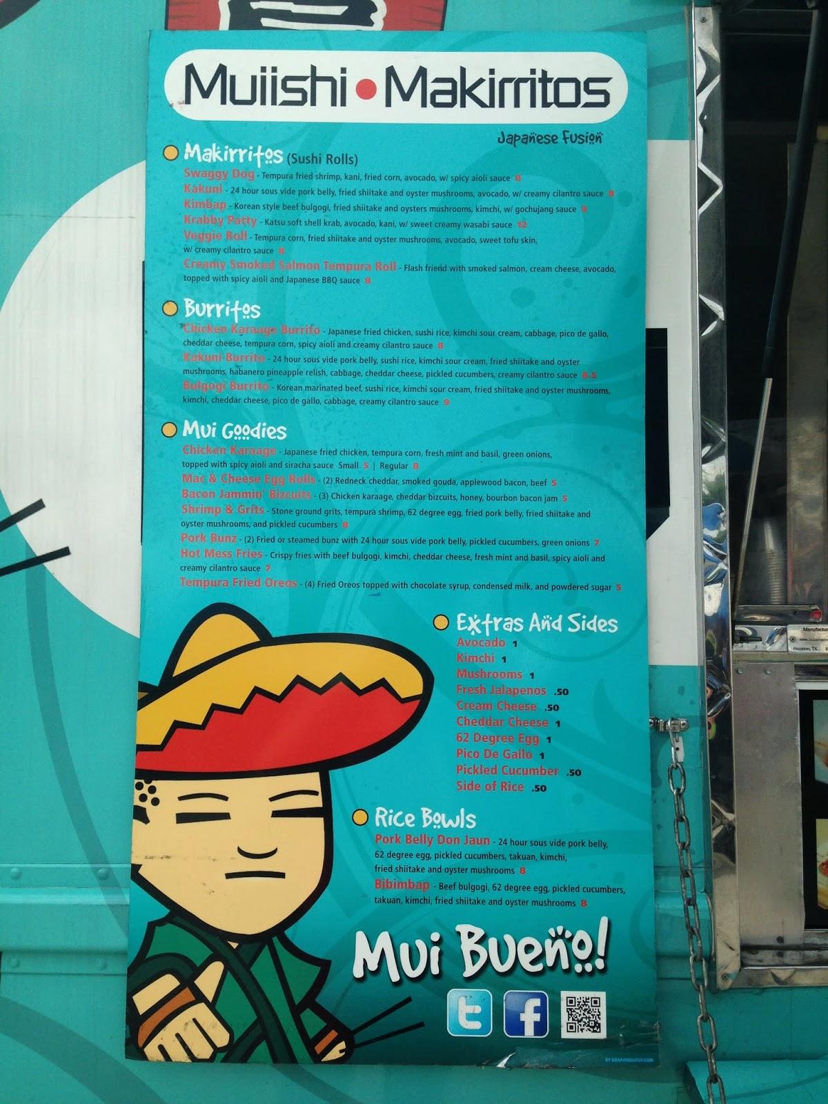 Muiishi Food Truck Menu