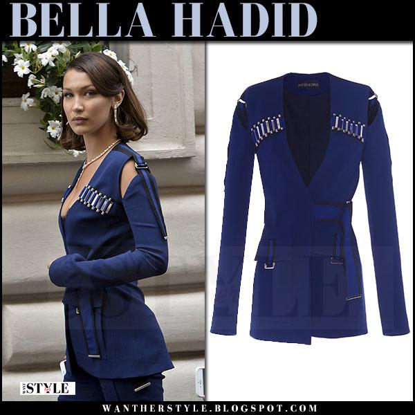 Bella Hadid in navy blue cutout jacket david koma rome may 24 2017 what she wore
