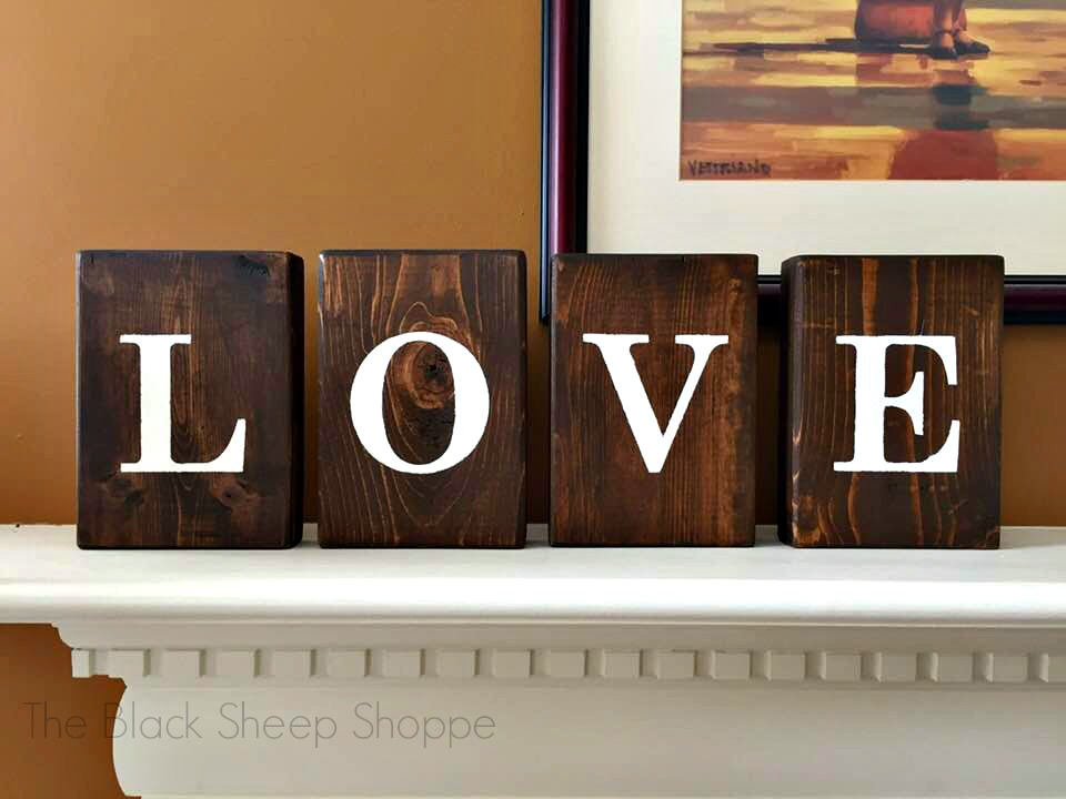 Reverse side of block letters spell LOVE