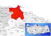 Sinop ili ve ilçeleriyle birlikte çevre il ve ilçeleri de gösteren harita.