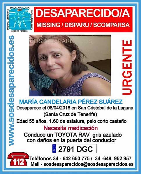 Mujer desaparecida en La Laguna, Tenerife, necesita medicación María candelaria pérez Súarez
