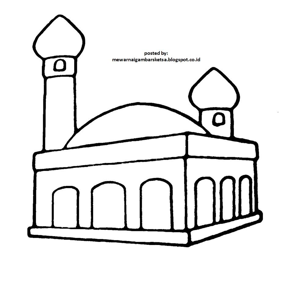 Tempat Ibadah Dan Berdoa Kumpulan Mewarnai Gambar Masjid