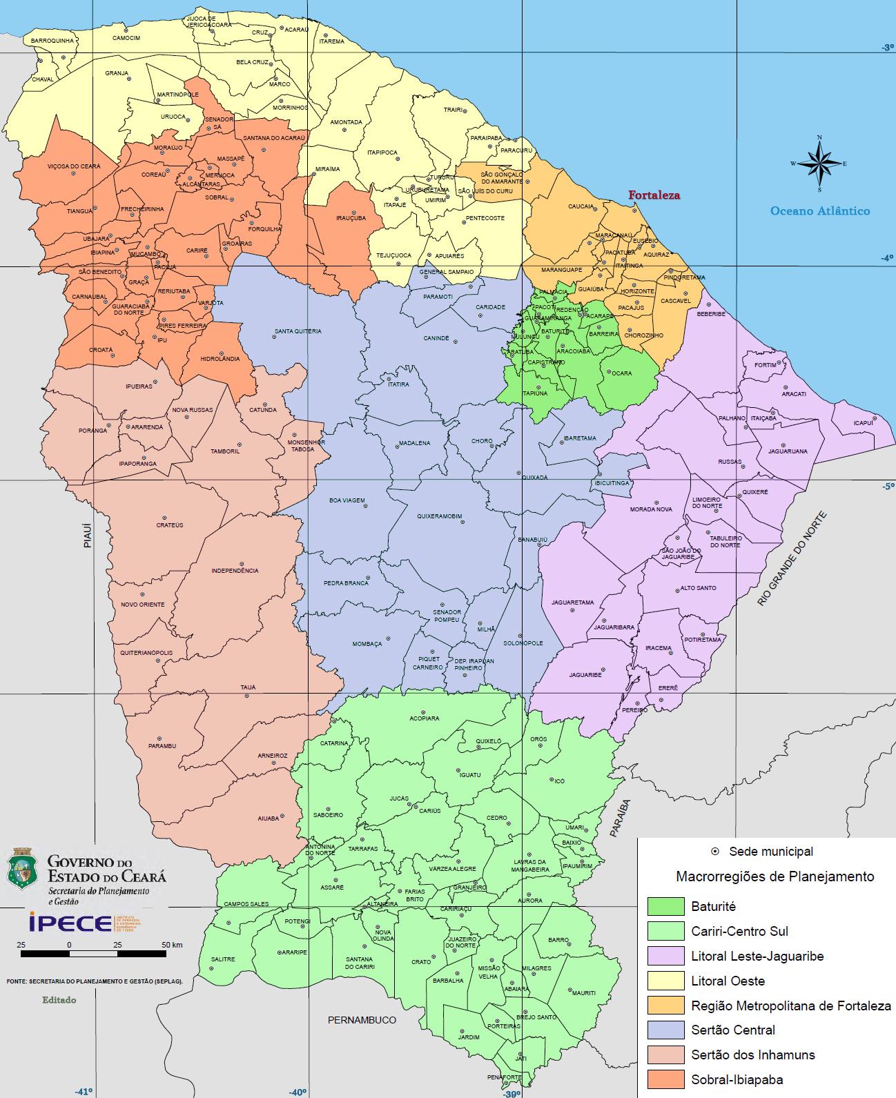 Extensão Territorial dos Municípios do Ceará em km²