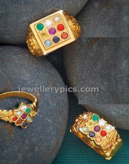 Men gold rings from AG pai with navratnas Latest Jewellery Designs