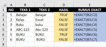 Contoh Fungsi Rumus Exact Excel