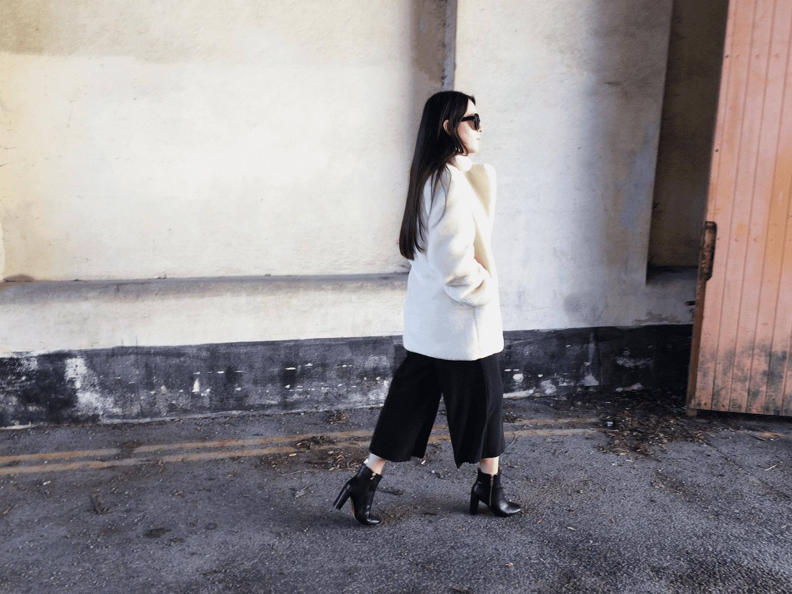 white faux fur coat, culottes