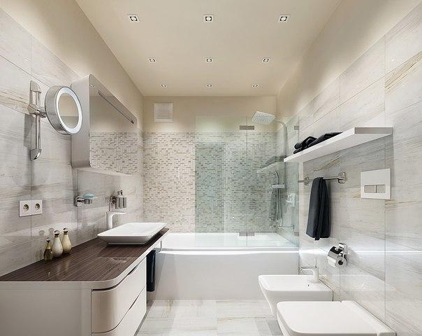 ванная комната с душем и ванной