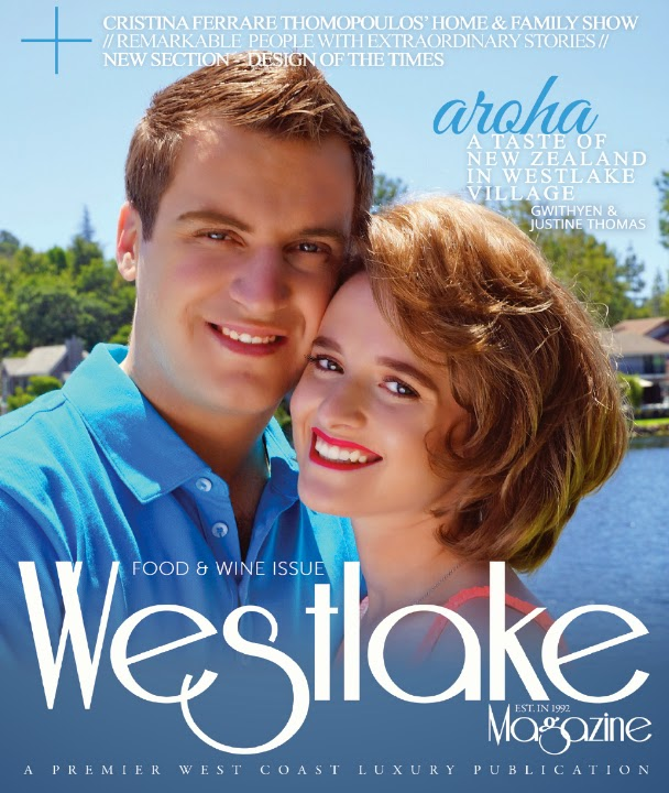 Restaurant owners, Gwithyen and Justine Thomas, on the cover of Westlake Magazine's Food & Wine Edition, July 2014