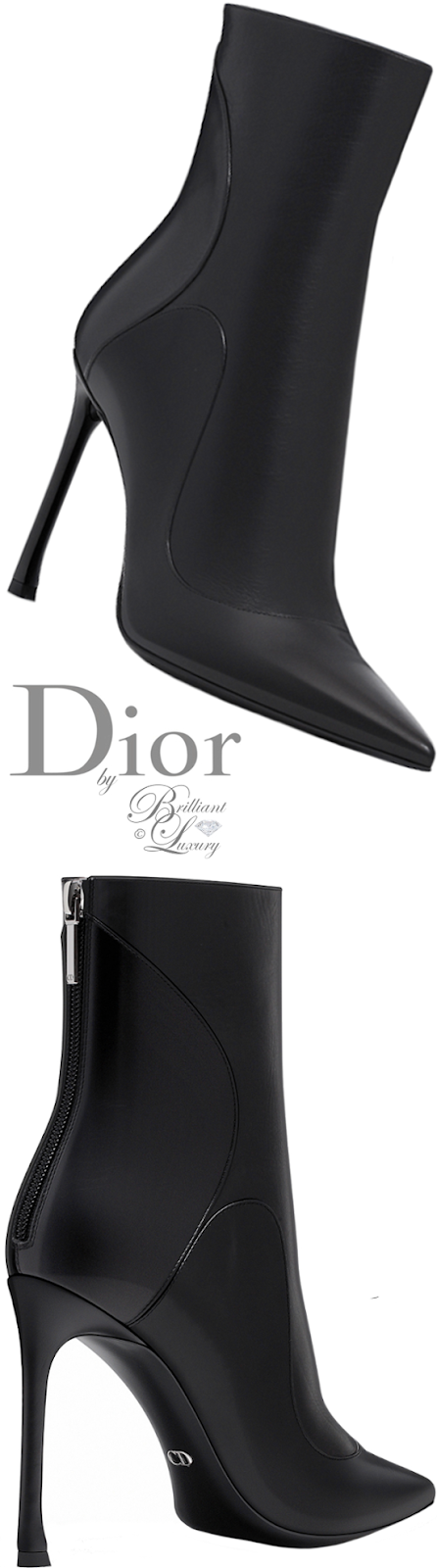 Brilliant Luxury ♦ Dior black smooth calfskin ankle boot