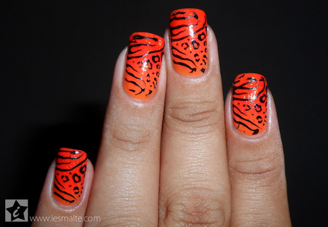 Unha Decorada - Gradiente Laranja + Animal Print