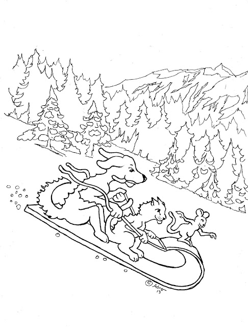 snow sled coloring page. Black Bedroom Furniture Sets. Home Design Ideas
