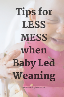 Title text over first photograph saying Tips for less mess when Baby Led Weaning
