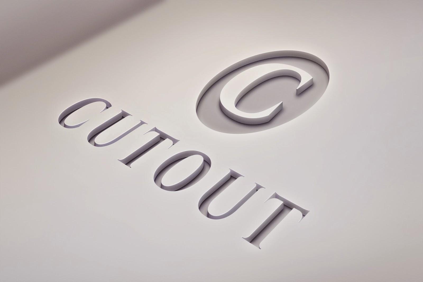 Cutout Logo Mock-Up PSD Design